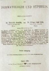 Archiv für Dermatologie und Syphilis, Praha 1869